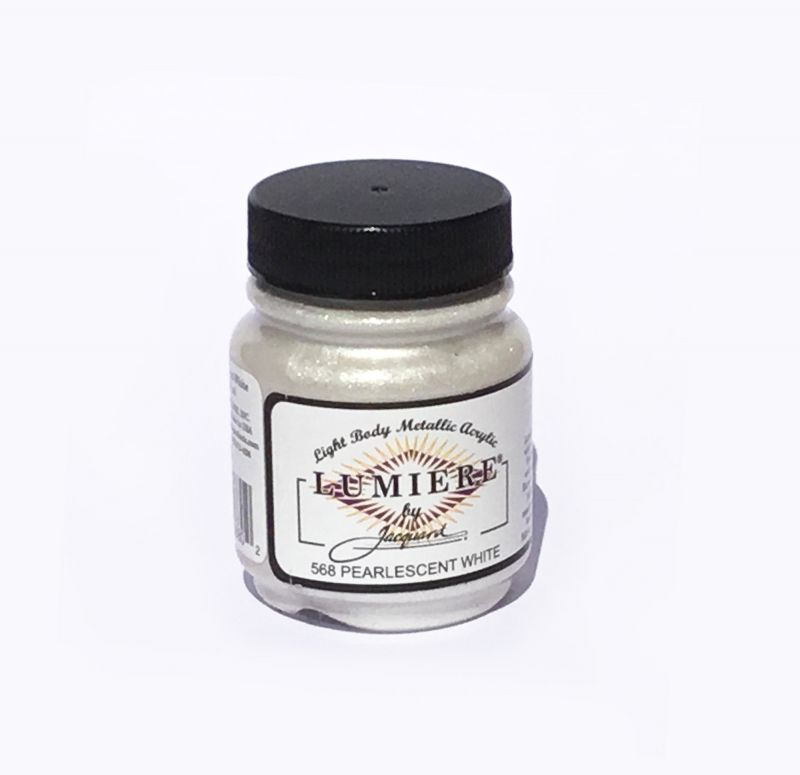Jacquard Products - Lumiere Metallic Acrylfarbe Textilfarbe, 66 ml, Pearlescent White