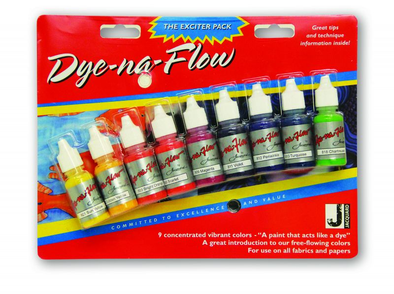 Jacquard Products Exciter Pack - Dye-Na-Flow flüssige Textilfarbe 9 Farben, je 14,7 ml